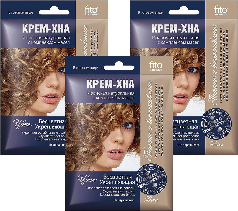 Henna - Juego de 3 botes de 50 ml de crema para el cabello con aceite de velcro iraní