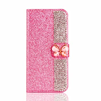 Glitter Brillante Funda para iPhone 7 Plus, Étui iPhone 8 Plus, Misteem Cierre Magnético
