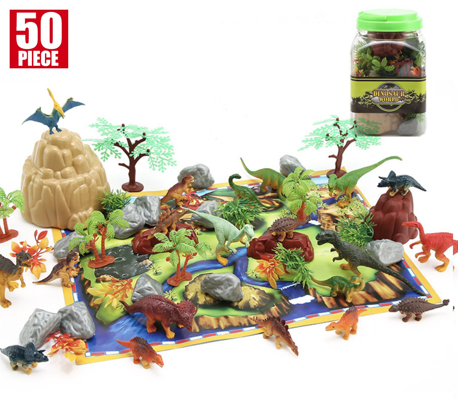 50 Pieces Educational Dinosaur Play Set - Dinosaur Toy for boy, Plastic Assorted Dinosaur Figures, Plant, Stone with play mat