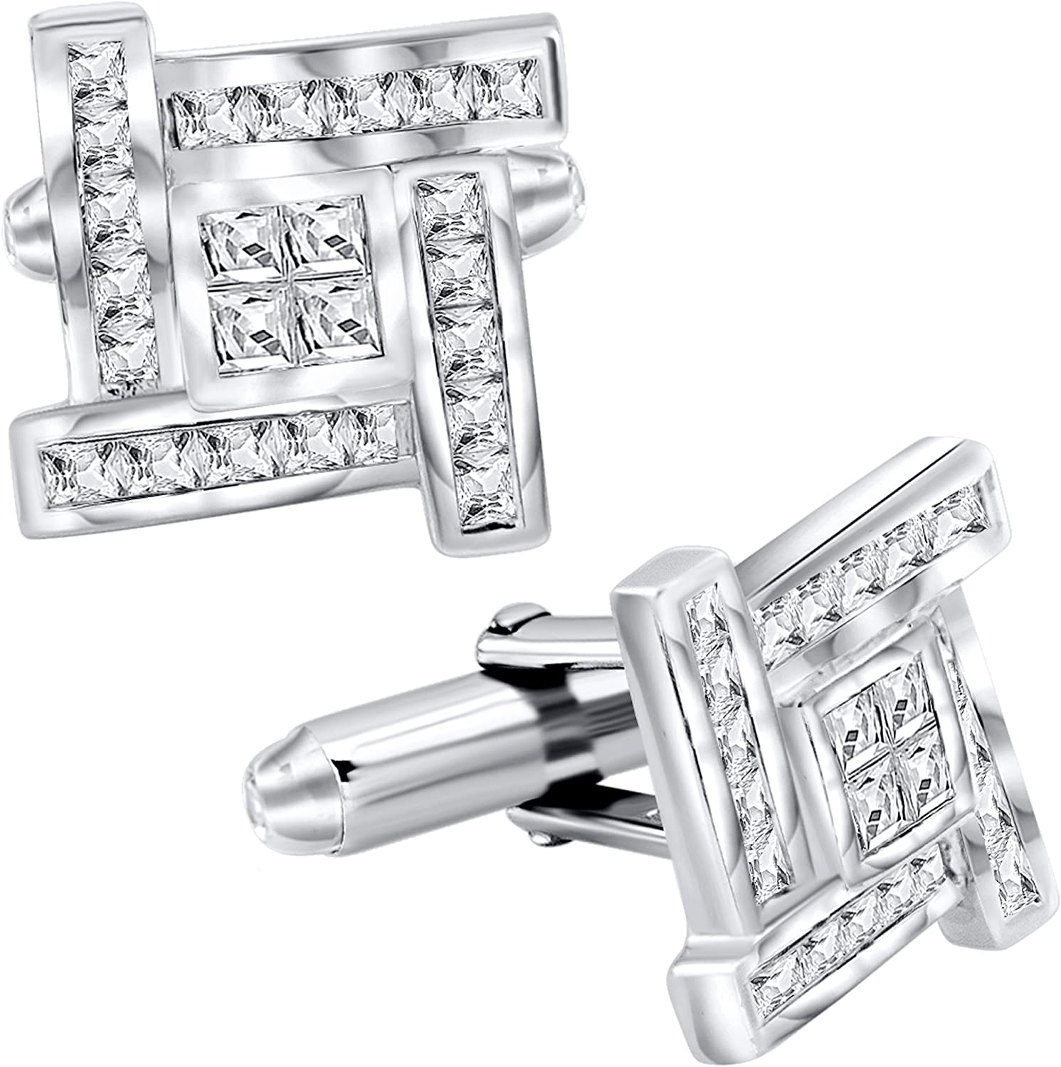 [2-5 Day Delivery] Men's Sterling Silver .925 Cufflinks with Princess-Cut Cubic Zirconia Stones 16mm. By Sterling Manufacturers