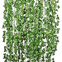 Folha De Folha Falsa, Funien 2.1M Hera Artificial Folha Falsa Folha Jardim Casa Suspensão De Parede Folhas De Videira…