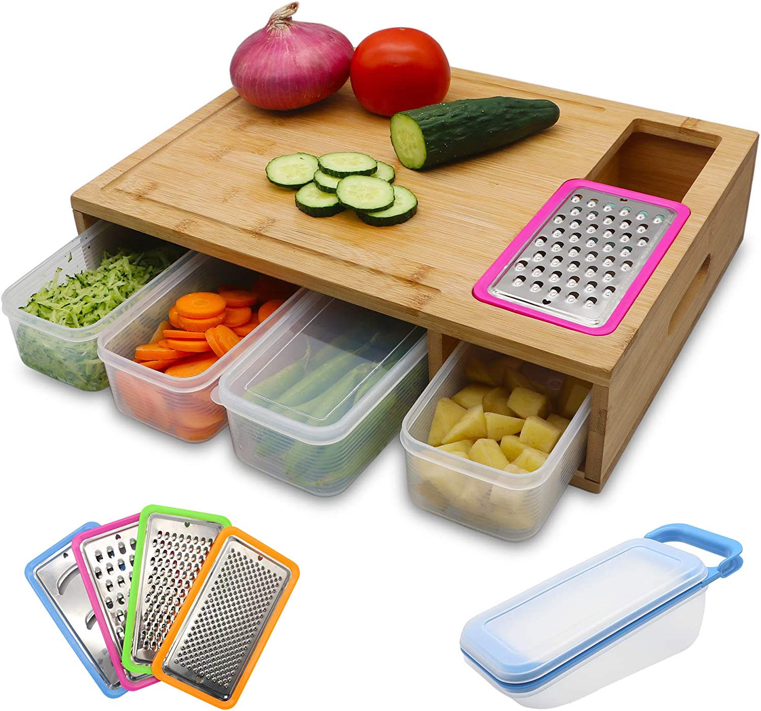 EZ Life Hub Bamboo Cutting Board with Containers - Prep deck with Juice Groove - Cutting Board with Containers, 4 Graters and a Box to Store Chopped Food - Large Prepdeck with 4 Trays