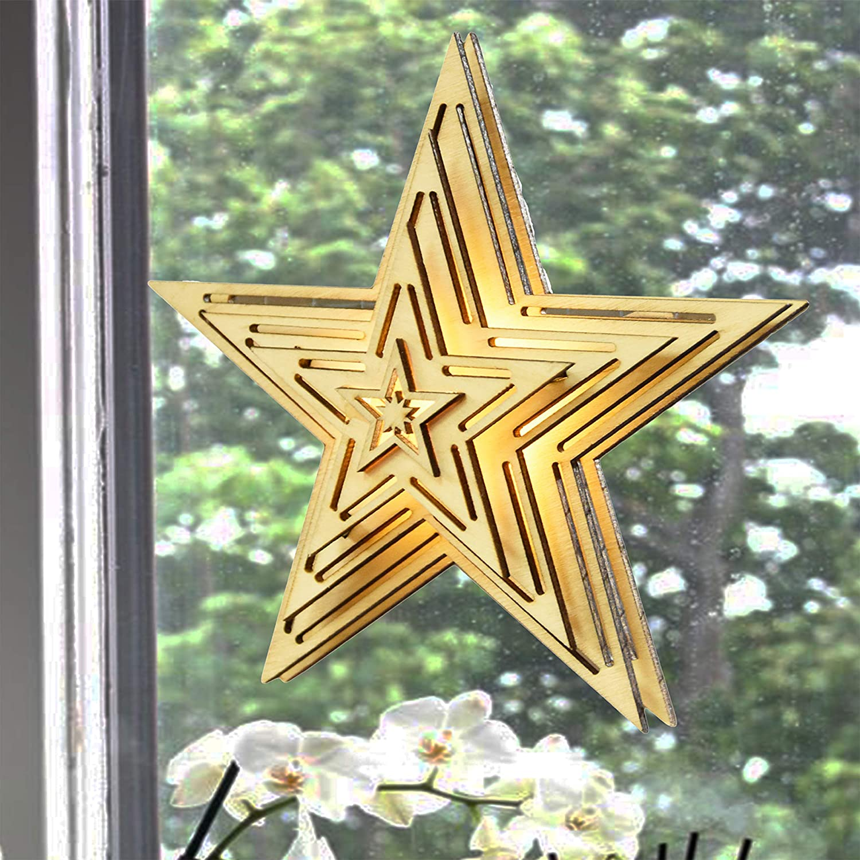 54805 Weihnachtsdeko Fensterdeko Stern Holz 15 cm Fensterbeleuchtung