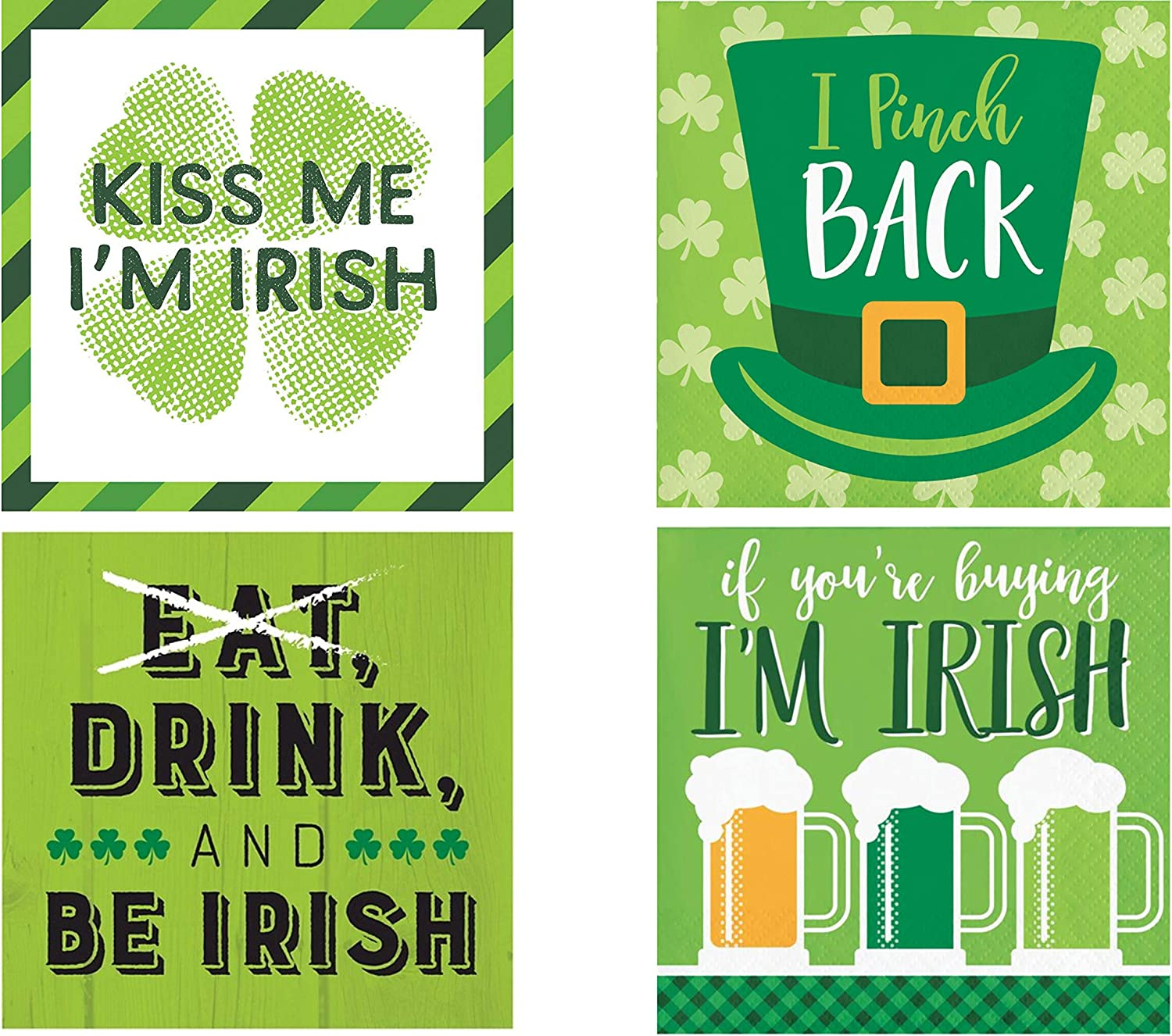 Funny St Patricks Day Cocktail Party/Beverage Napkin Bundle for 64 Guests - 4 Styles