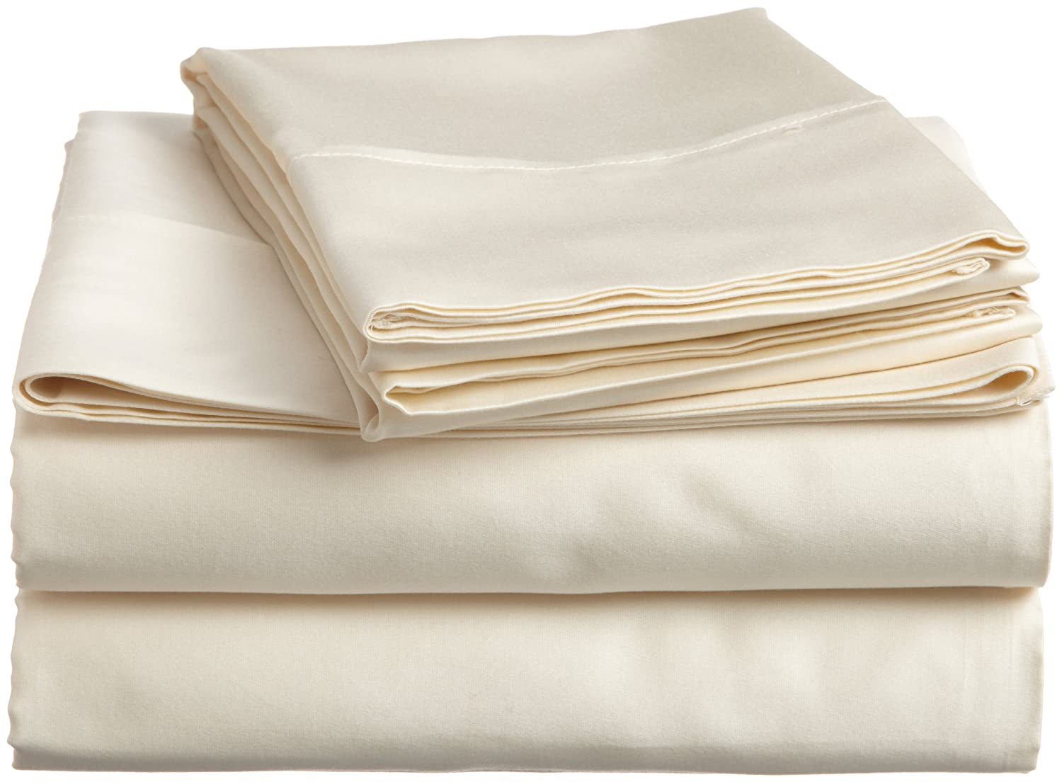 Ivory California King Superior 100% Premium Combed Cotton, 4-Piece Sheet and Pillowcase Cover Set, Solid, Queen - White