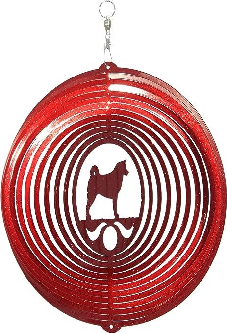 Akita Dog RED Metal Swirly Sphere Wind Spinner *NEW*