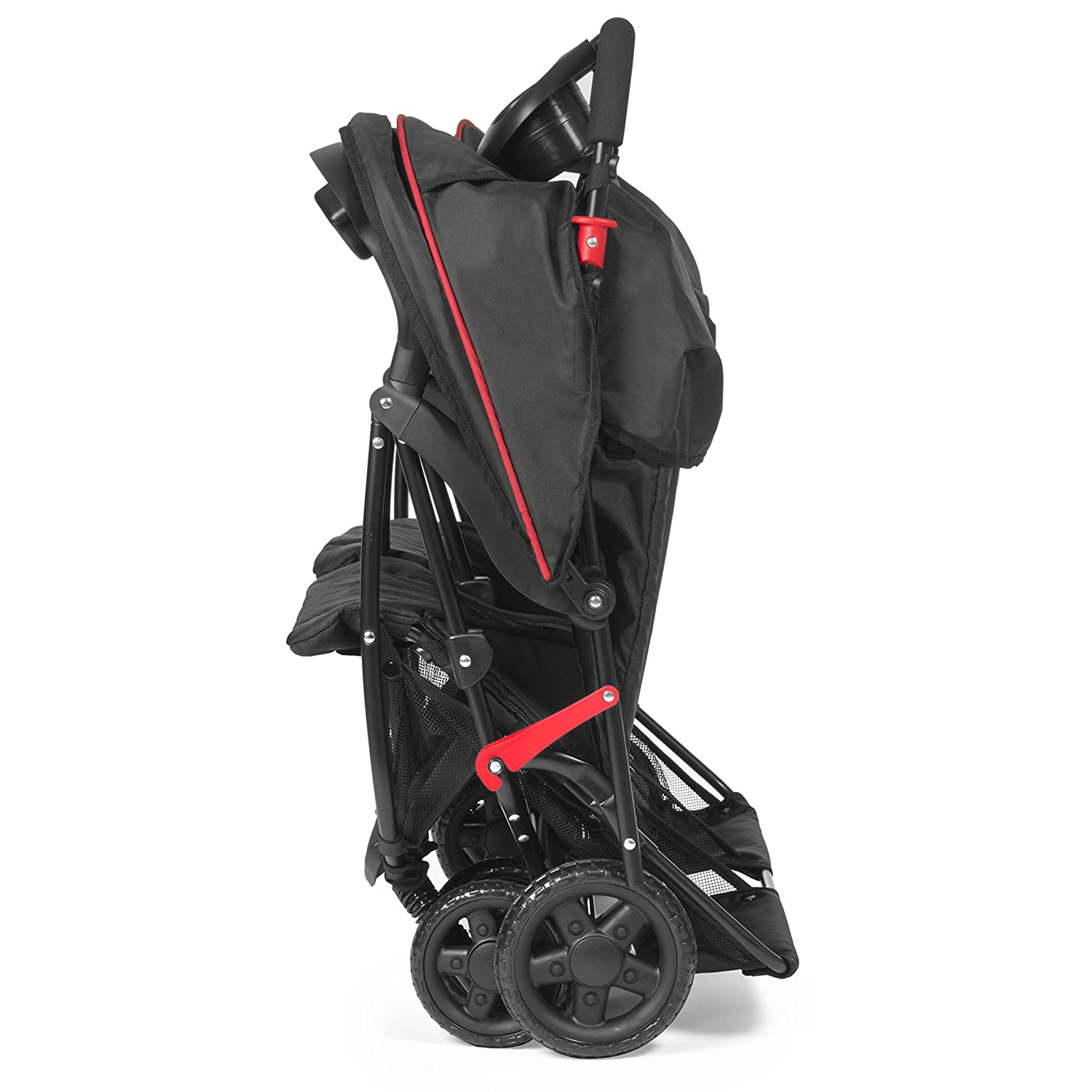 Kolcraft Cloud Plus Lightweight Double Stroller -5-Point Safety System, 3-Tier Extended Canopy for UV Protection, Independently Reclining Seats, Easy Fold, Storage Basket, Drink Holder Tray, Red Black