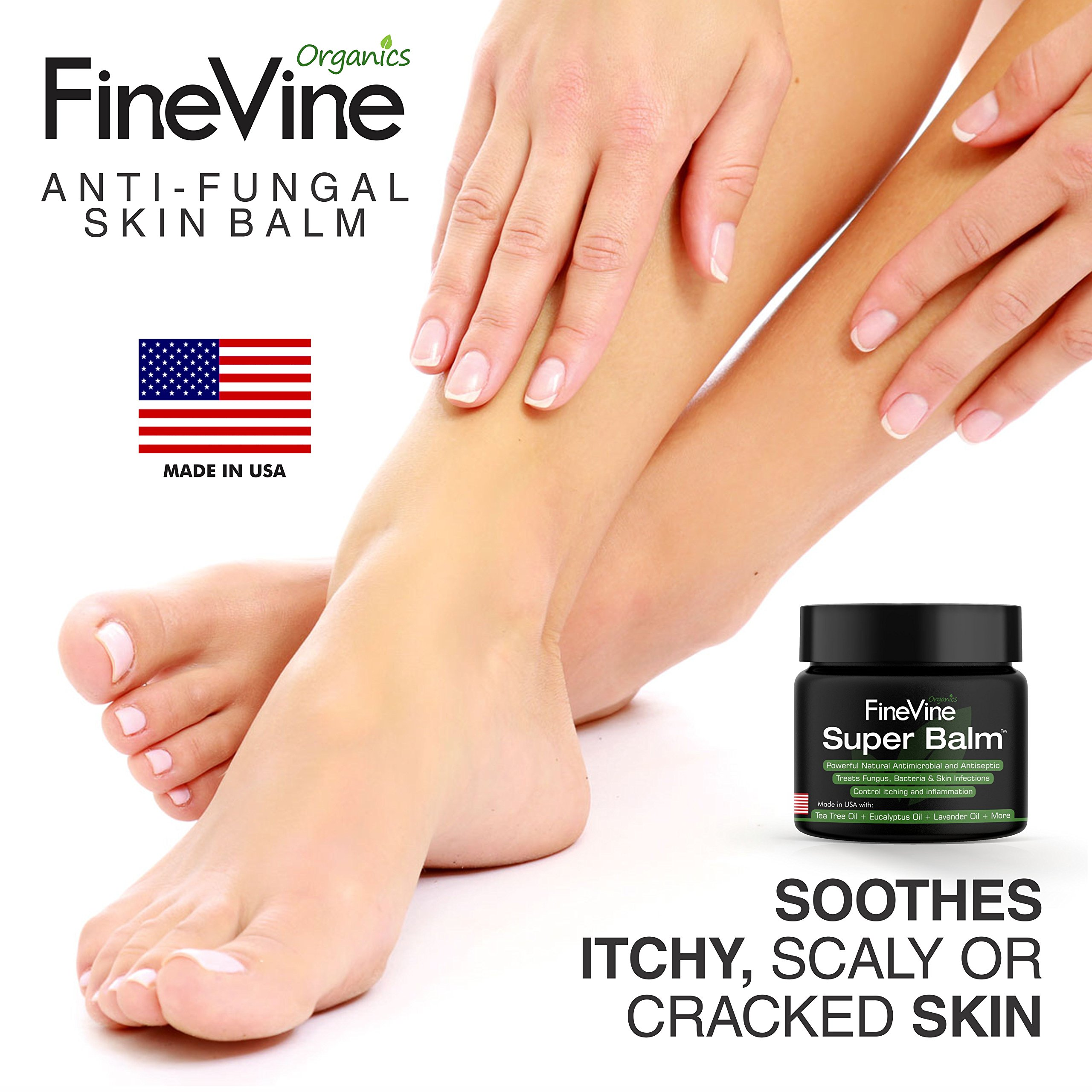 Antifungal Balm - Made in USA - Helps Treat Eczema, Ringworm, Jock Itch, Athletes Foot and Nail Fungal Infections - Best Natural Ointment to Soothes Itchy, Scaly or Cracked Skin. by FineVine (Image #6)