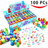 100 Pieces Assorted Stamps for Kids Self-ink Stamps (50 DIFFERENT Designs, Plastic Stamps, Emoji Stampers, Dinosaur Stampers, Zoo Safari Stampers) for Easter Egg Stuffers, Party Favor, Teacher Stamps