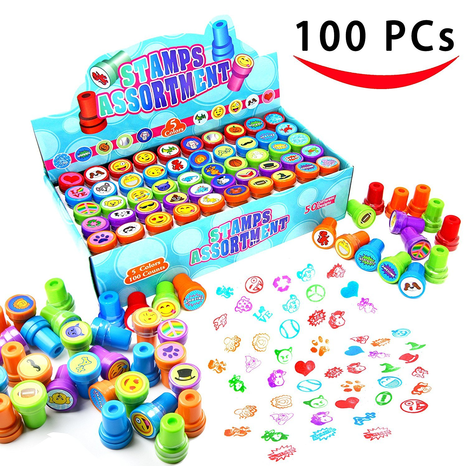 100 Pieces Assorted Stamps for Kids Self-ink Stamps (50 DIFFERENT Designs, Emoji Stampers, Dinosaur Stampers, Zoo Safari Stampers) for Party Favor, School Prizes, Teacher Stamps Easter Egg Stuffer Joyin Toy