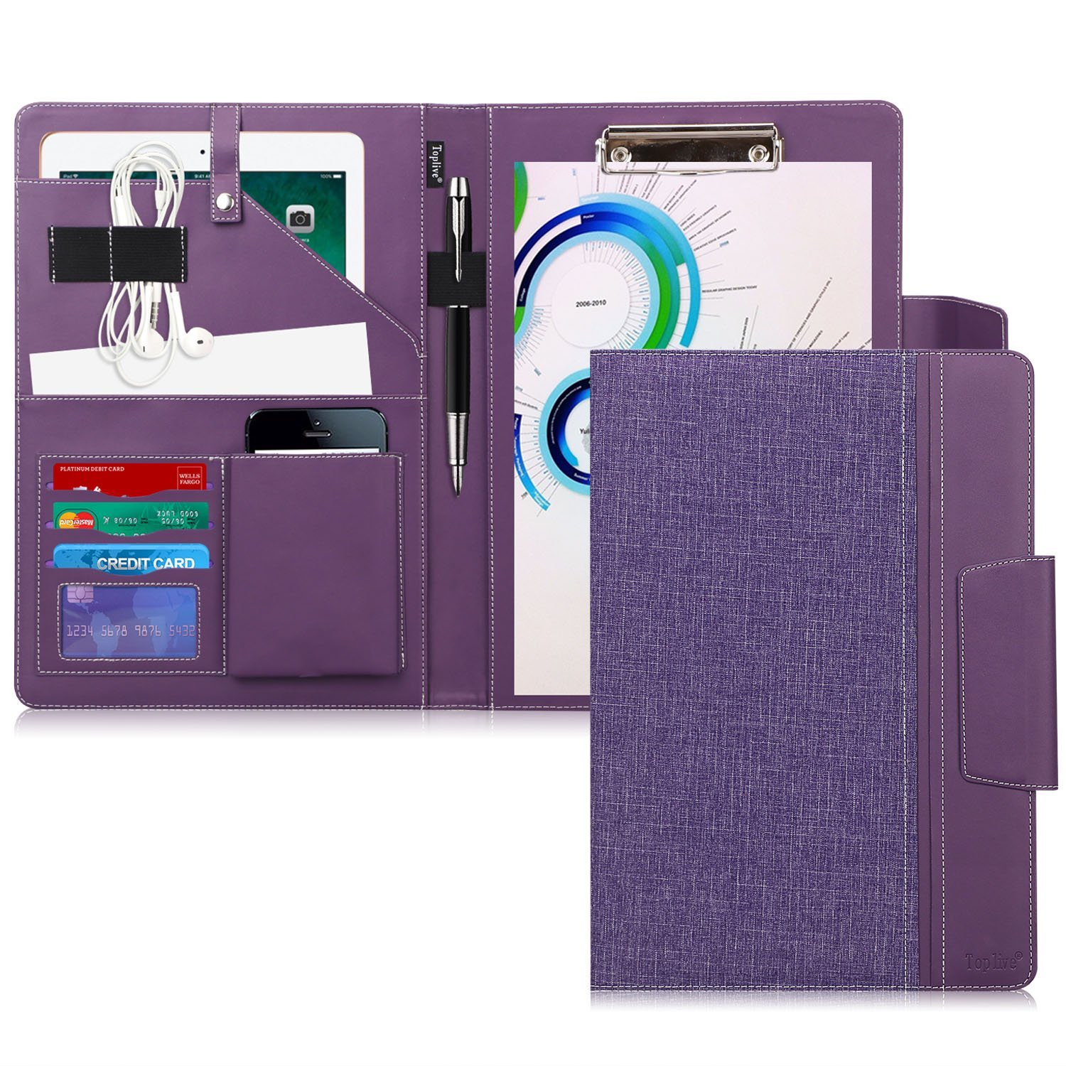 Toplive Portfolio Case Padfolio, Executive Business Document Organizer with Letter Size Clipboard, Business Card Holder, Tablet Sleeve(Up to 10.5 Tablet), for Business School Office Conference, Purple