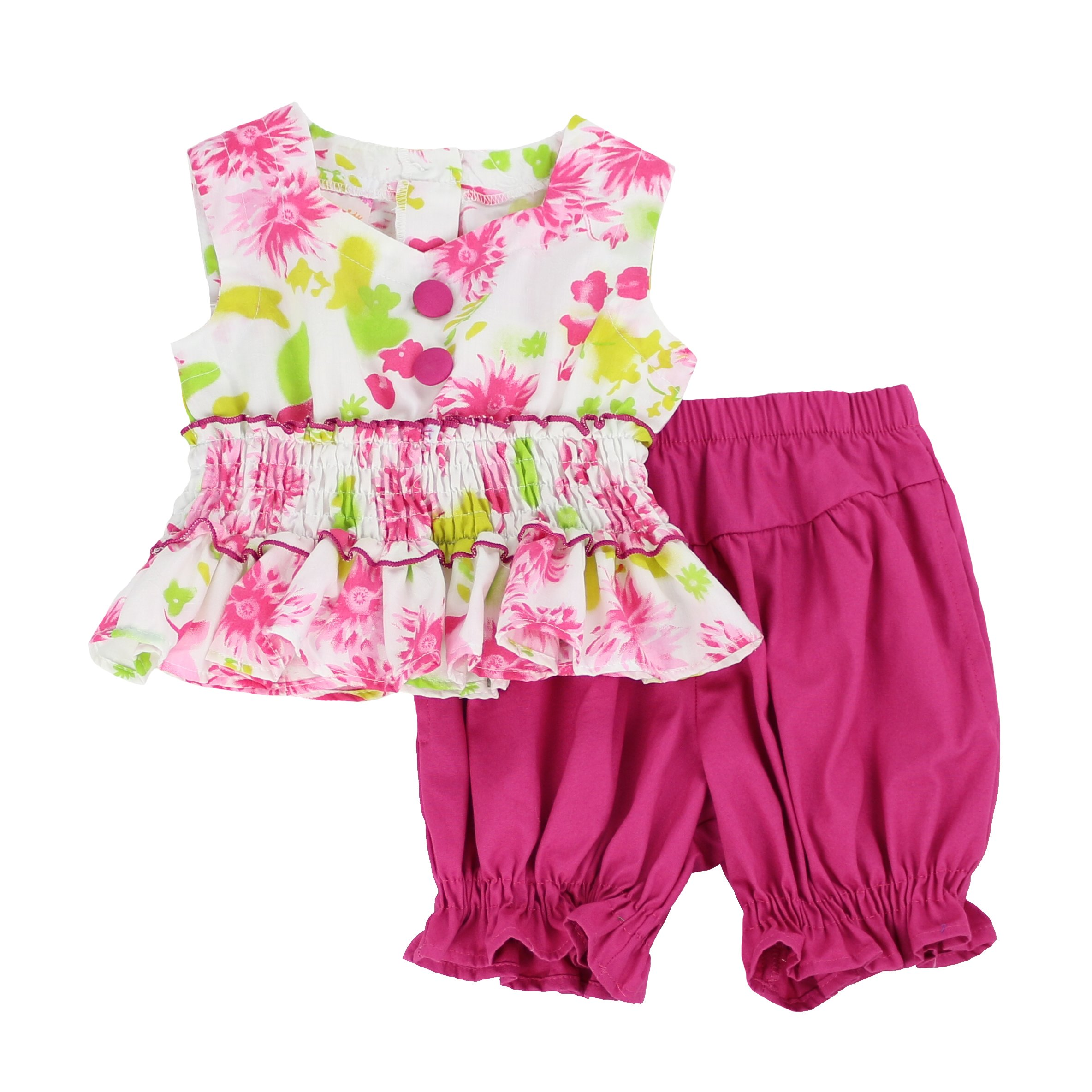 LELEFORKIDS - Toddlers and Girls Laura Lynn Ruffled Bloomer Short Set in Hot Pink 6