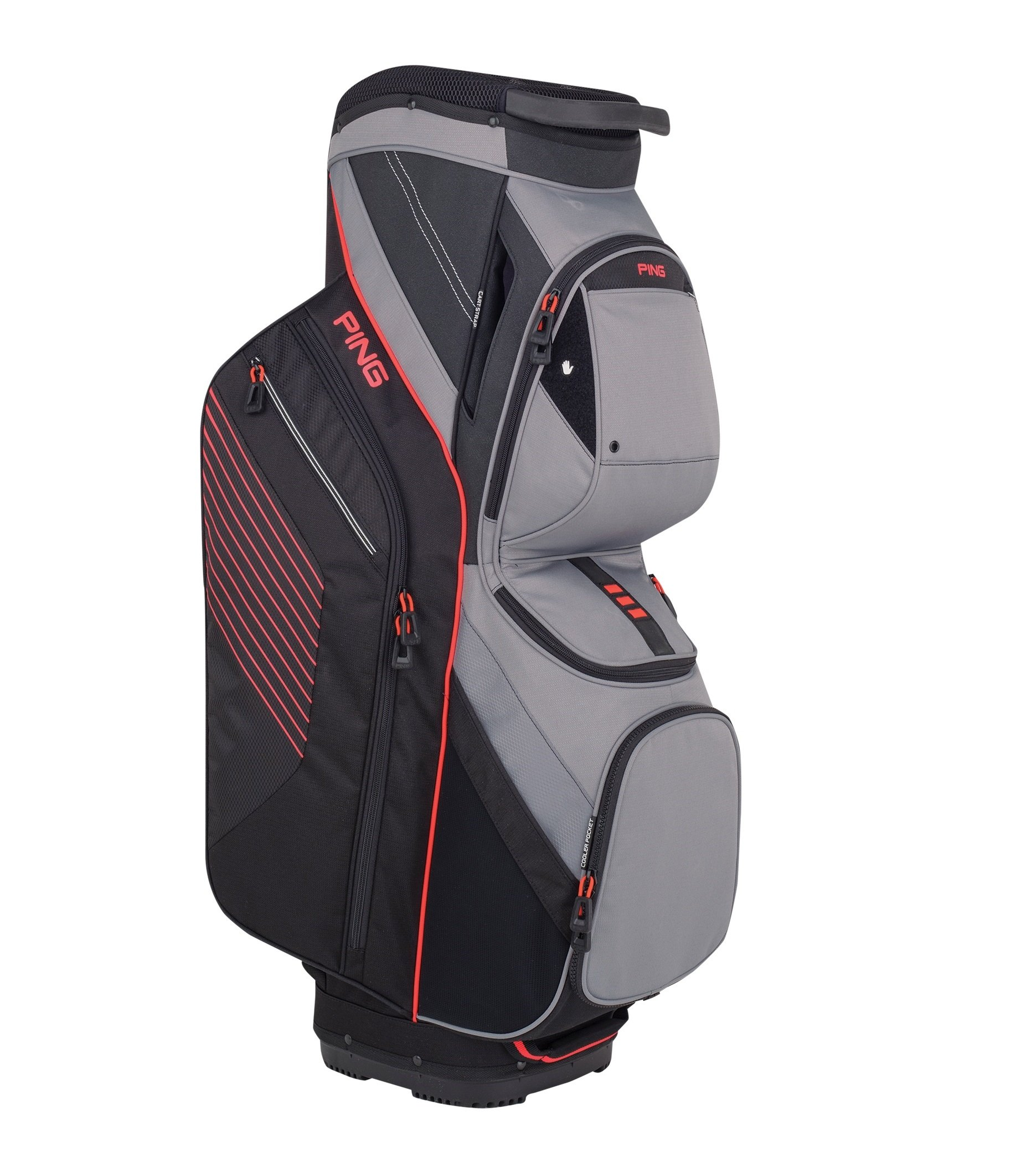 NEW 2018 Ping Traverse Black/Silver/Electric Crimson 14-Way Top Golf Cart Bag