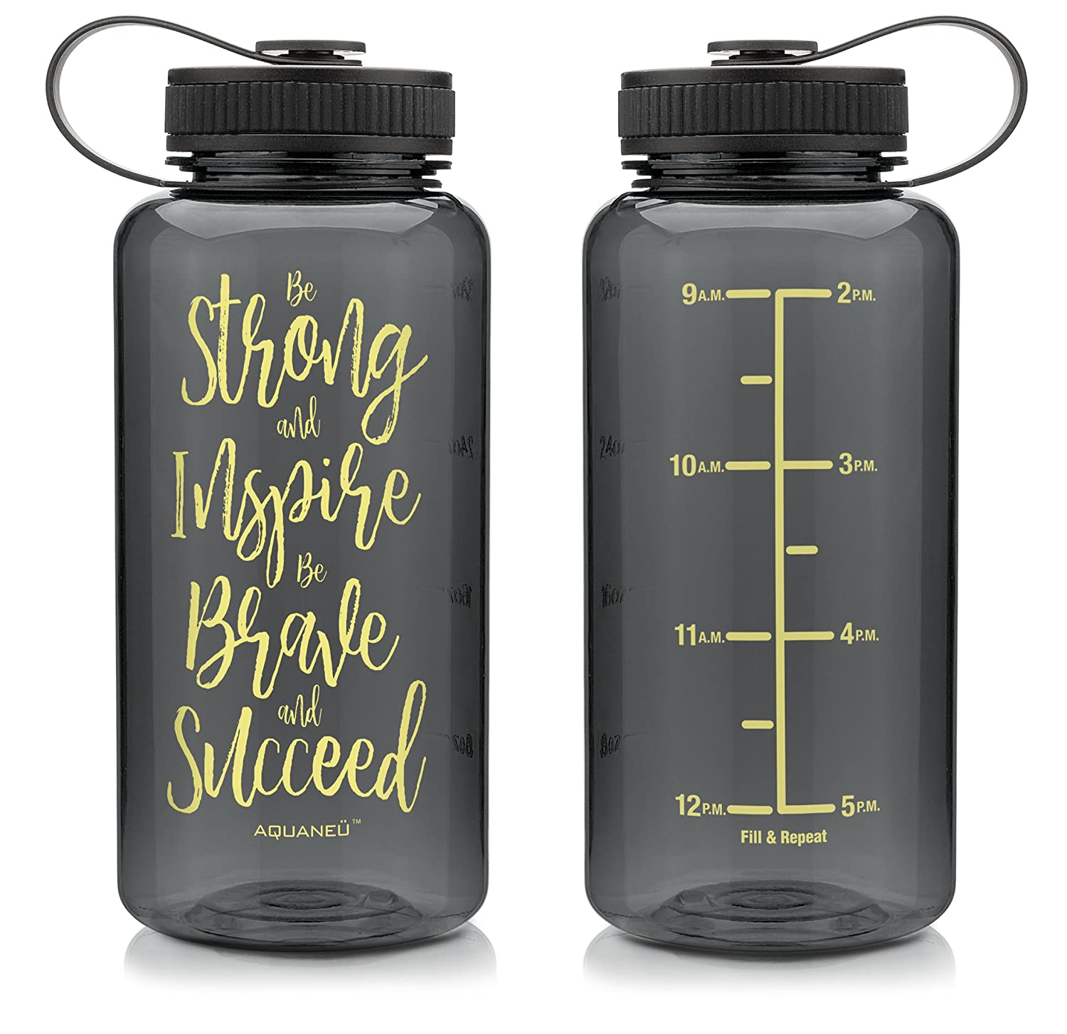 AQUANE/Ü 34oz Motivational Fitness Workout Sports Water Bottle with Time Marker Goal Marked Times For Measuring Your H2O Intake Measurements BPA Free Non-toxic Tritan 34oz