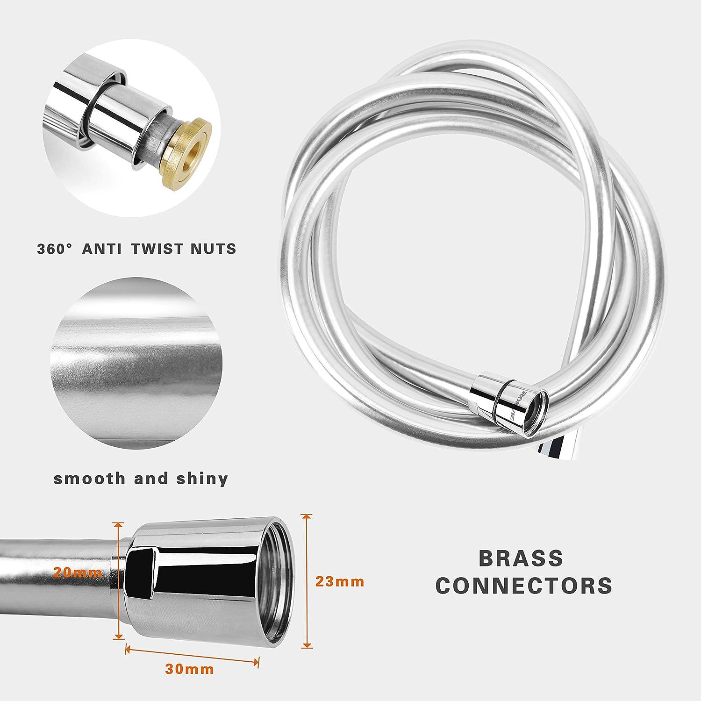 anti-torsion et anti-fuite Ronvie Flexible de douche PVC lisse 1,5 m avec raccords en laiton anti-torsion Remplacement universel flexible