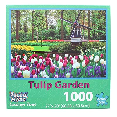 Puzzle Mate - Tulip Garden - 1000 Piece Jigsaw Puzzle: Toys & Games