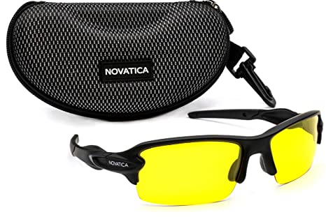 fff06e0217 NOVATICA Anti Glare Night Driving Polarized TAC Glasses - HD Night Vision -  UV Protection - Sport Sunglasses - Men   Women - Yellow TAC Clear Lenses ...