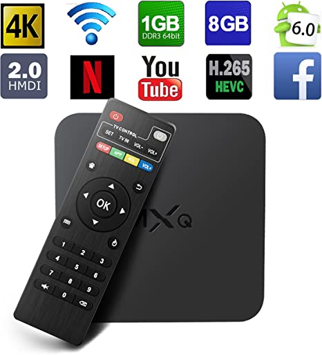 glob Mall Android 6.0 TV Box 64 bits Amlogic vierer Cable de núcleo MXQ 4 K Buzón de televisión inteligente completo HD/H.265/WiFi 2.4 GHz: Amazon.es: Electrónica