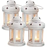 TIED RIBBONS Hanging Lantern Lamps Tealight Holder with Tealight Candle for Living Room Home Decoration Set of 4 (White)