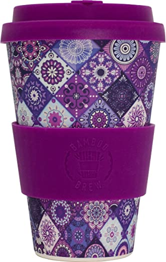 Reusable Coffee Cup (Purple Mosaic) - Eco Friendly & Organic Biodegradable Bamboo - Made with Food Grade Natural Silicone Lid & Sleeve - Ideal Mug for Travel Or Home Use