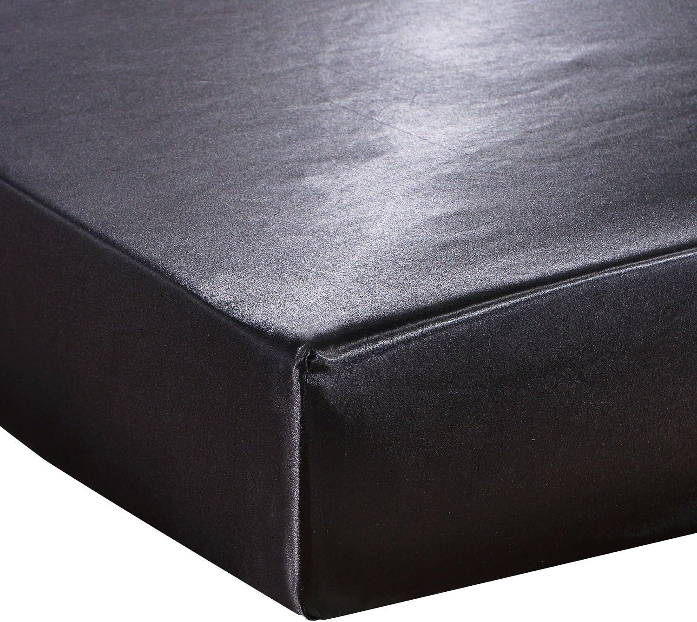 Noir 160 x 200 cm Tofern Prot/ège Couvre Matelas Elastique Et/é Frais H/ôtel D/écoration Chambre Satin Lisse El/égant Bonnet 30cm Al/èse Doux R/ésistant Lavable 100//140//160//180//200