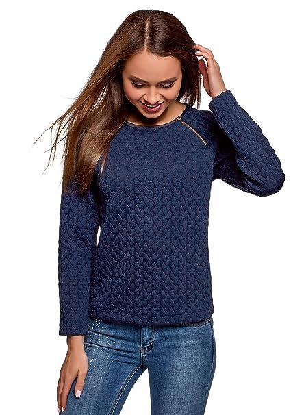 oodji Ultra Damen Bedrucktes Sweatshirt mit U-Boot-Ausschnitt