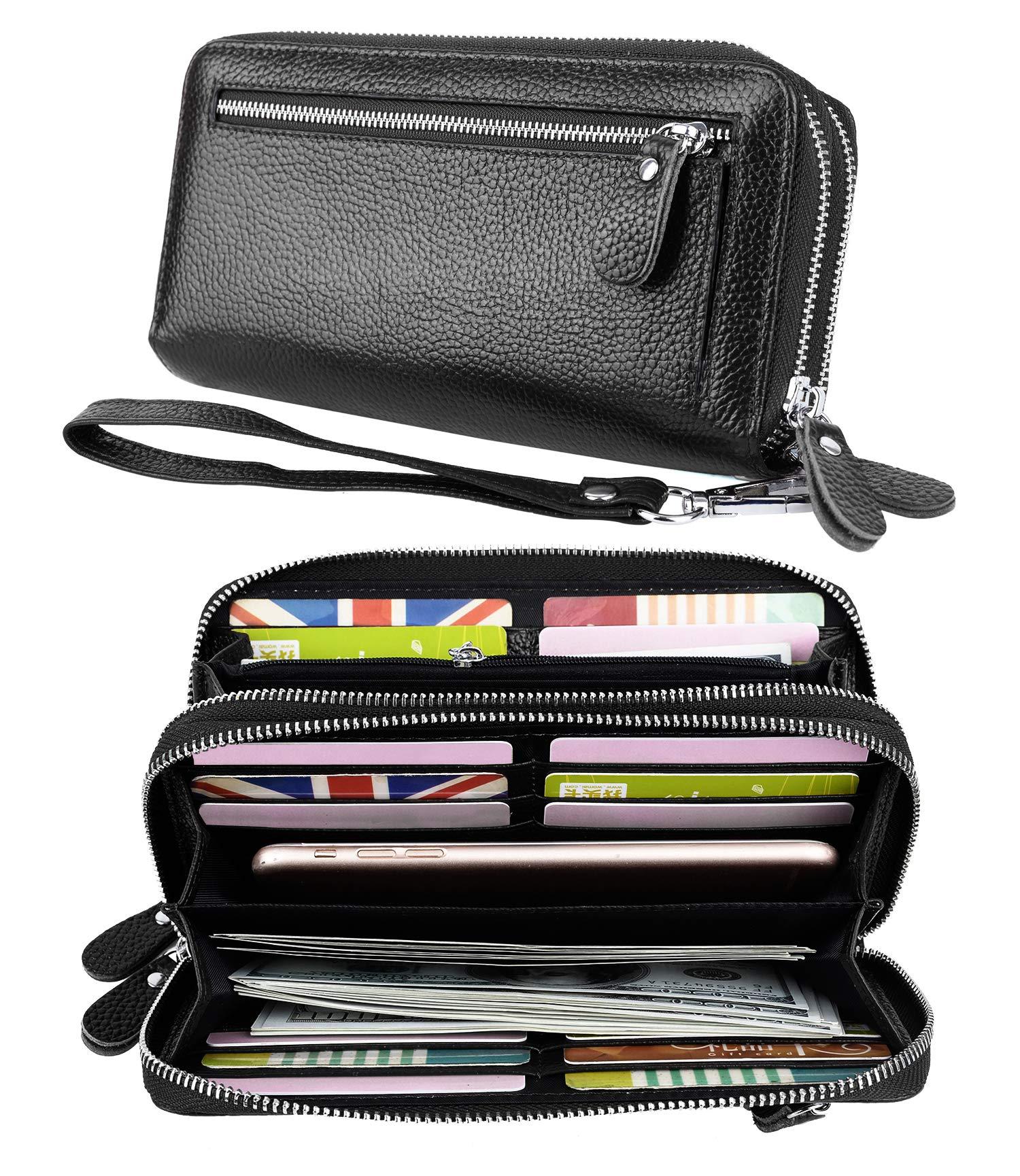 YALUXE Women's RFID Blocking Security Double Zipper Large Smartphone Wristlet Leather Wallet Black by YALUXE