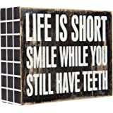 Truu Design Life is Short Box Sign, 5 x 4 x 1.75 inches, Wood