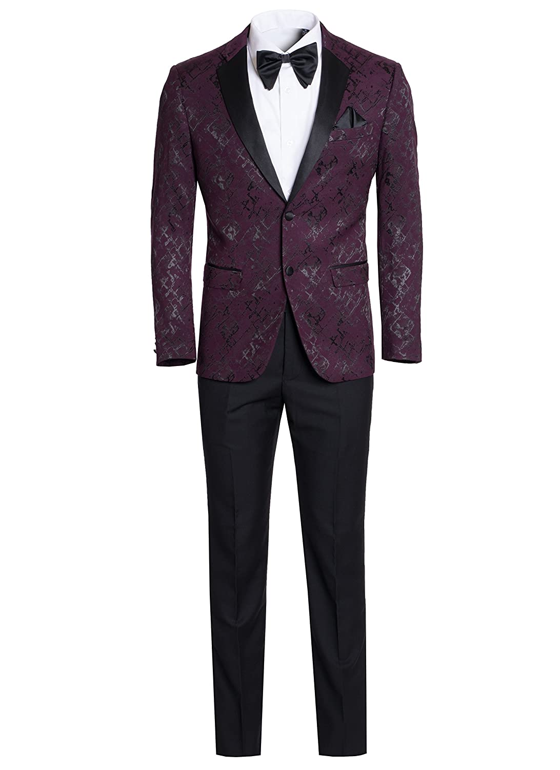 King Formal Wear Men's Premium Ultra Slim Fit Patterned Two Piece Two Buttons Tuxedos-Many Colors