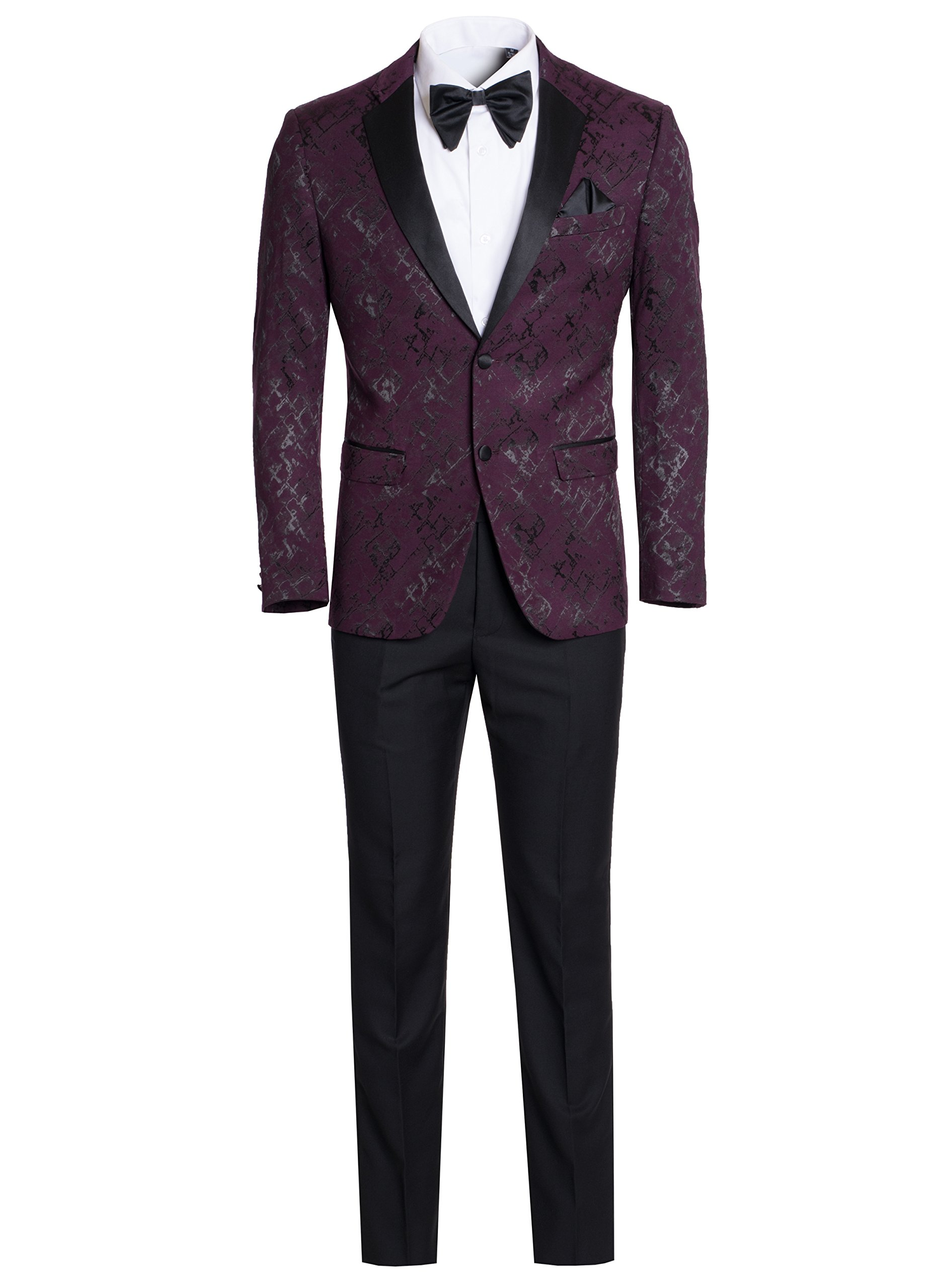 Men's Premium Ultra Slim Fit Patterned Two Piece Two Buttons Tuxedos-Many Colors (Burgundy/Maroon With Black, 40 Short)