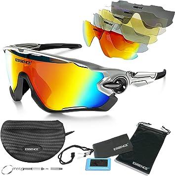 Gafas de Sol Deportivas polarizadas - Gafas de Ciclismo para Hombres y Mujeres +5 Lentes Intercambiables con Lentes Transparentes - Protección polarizada UV400 - Esquí de esquí de Pesca: Amazon.es: Deportes y aire libre