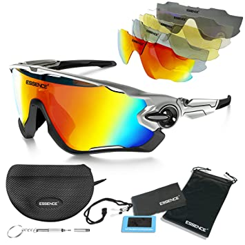 aabf13aeb74 essence  Polarised Sports Sunglasses - Mens   Womens Cycling Glasses +5  Interchangeable lenses with