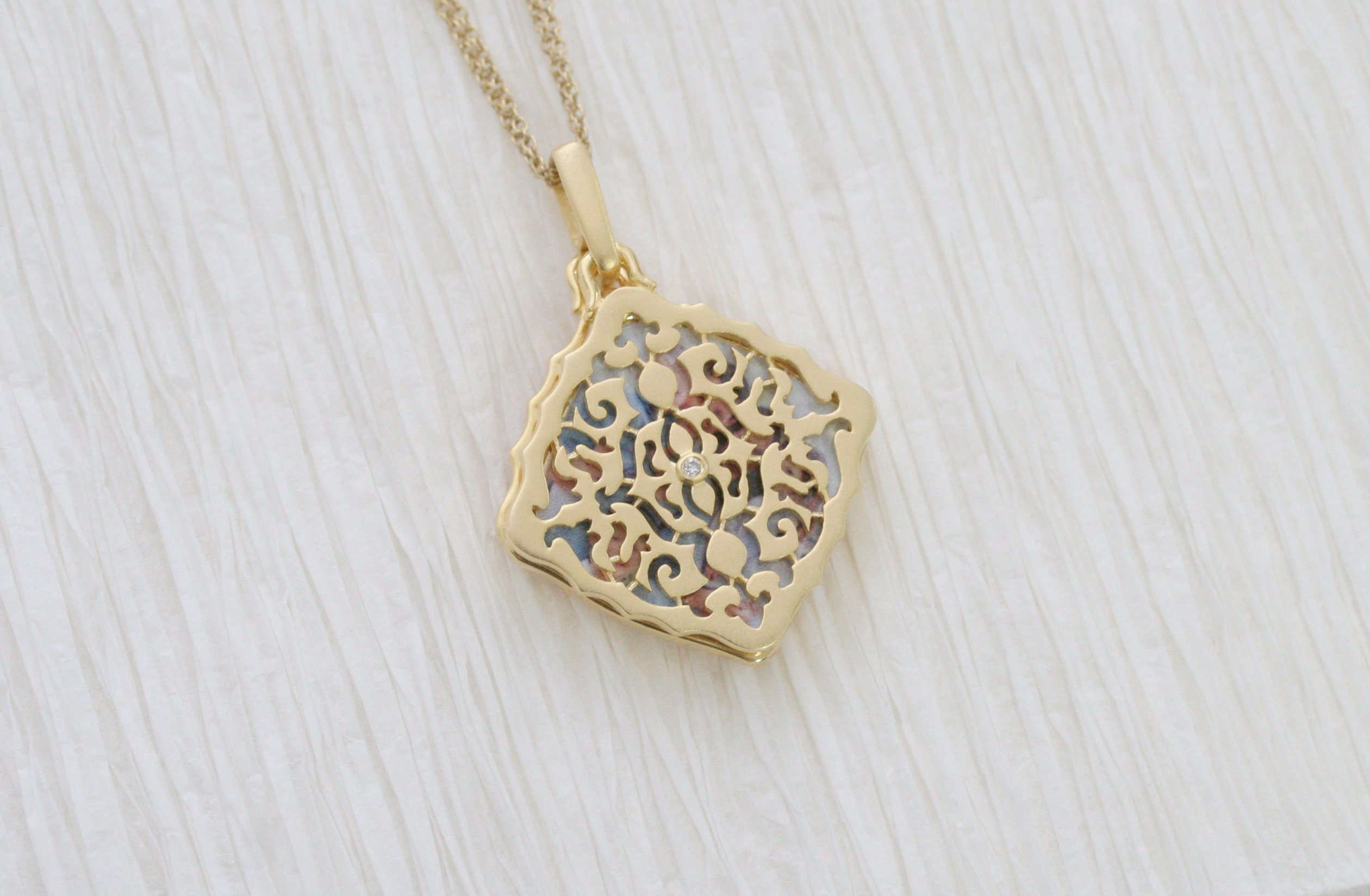 With You Lockets Yellow Gold-Diamond-Square-Custom Photo Locket Necklace-22-inch chain-The Mimi by by With You Lockets (Image #6)