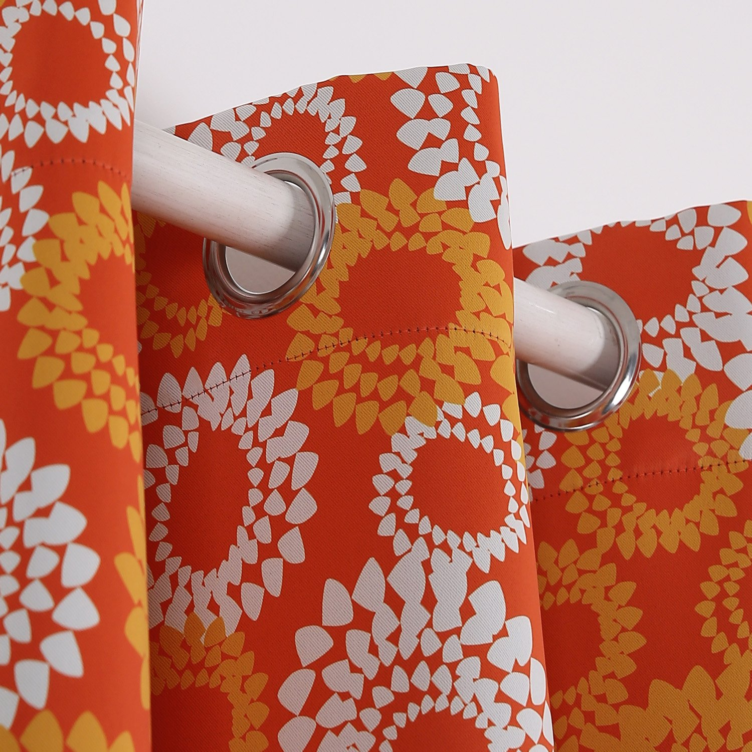 Deconovo Printed Design Blackout Thermal Curtains Floral Pattern Curtains Orange and White