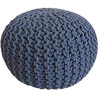 Casamia Gebreide kruk poef zitpoef zitpoef grove gebreide look Ø 55 cm extra hoog hoogte 37 cm, zeeblauw, één maat