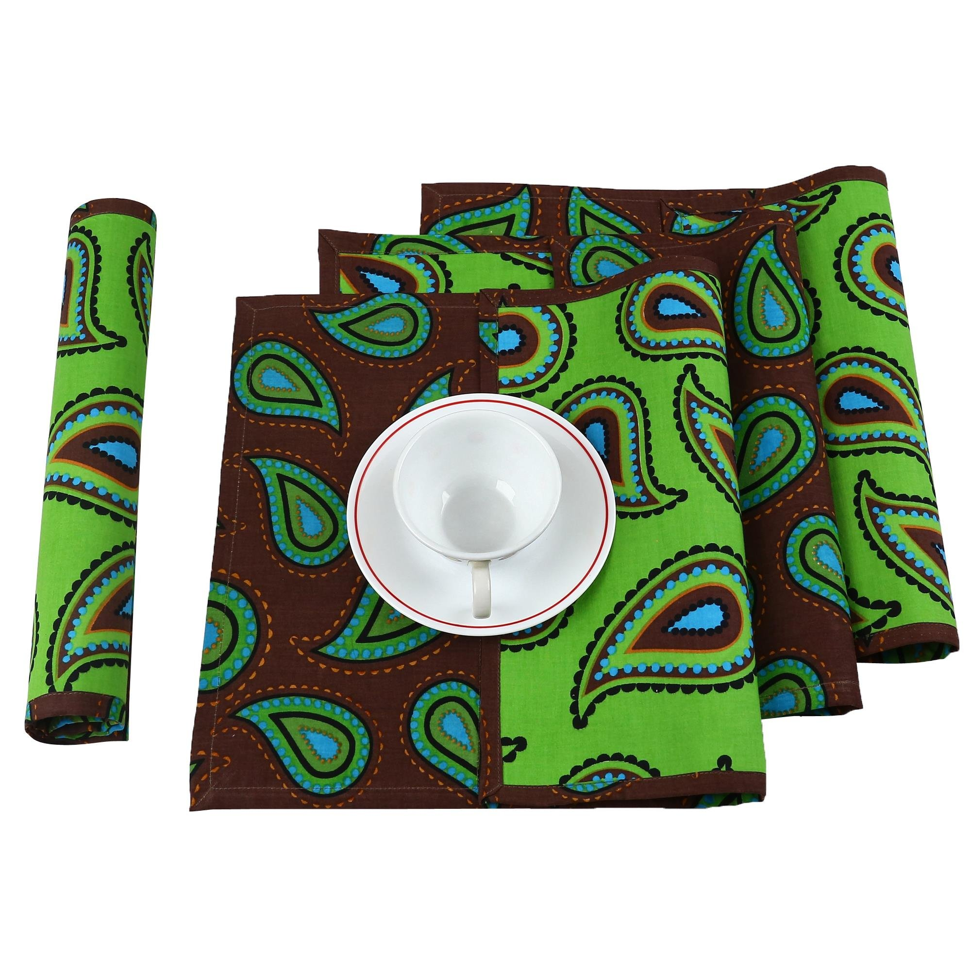Reversible Placemats Set of 12 Home Décor Printed Cotton Indian 200TC,13x19 Inches