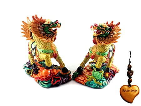 Betterdecor A Pair of Feng Shui Imperial Guardian Chi Lin kei Loon qi Lin for Anti Bad Chi and a Charm