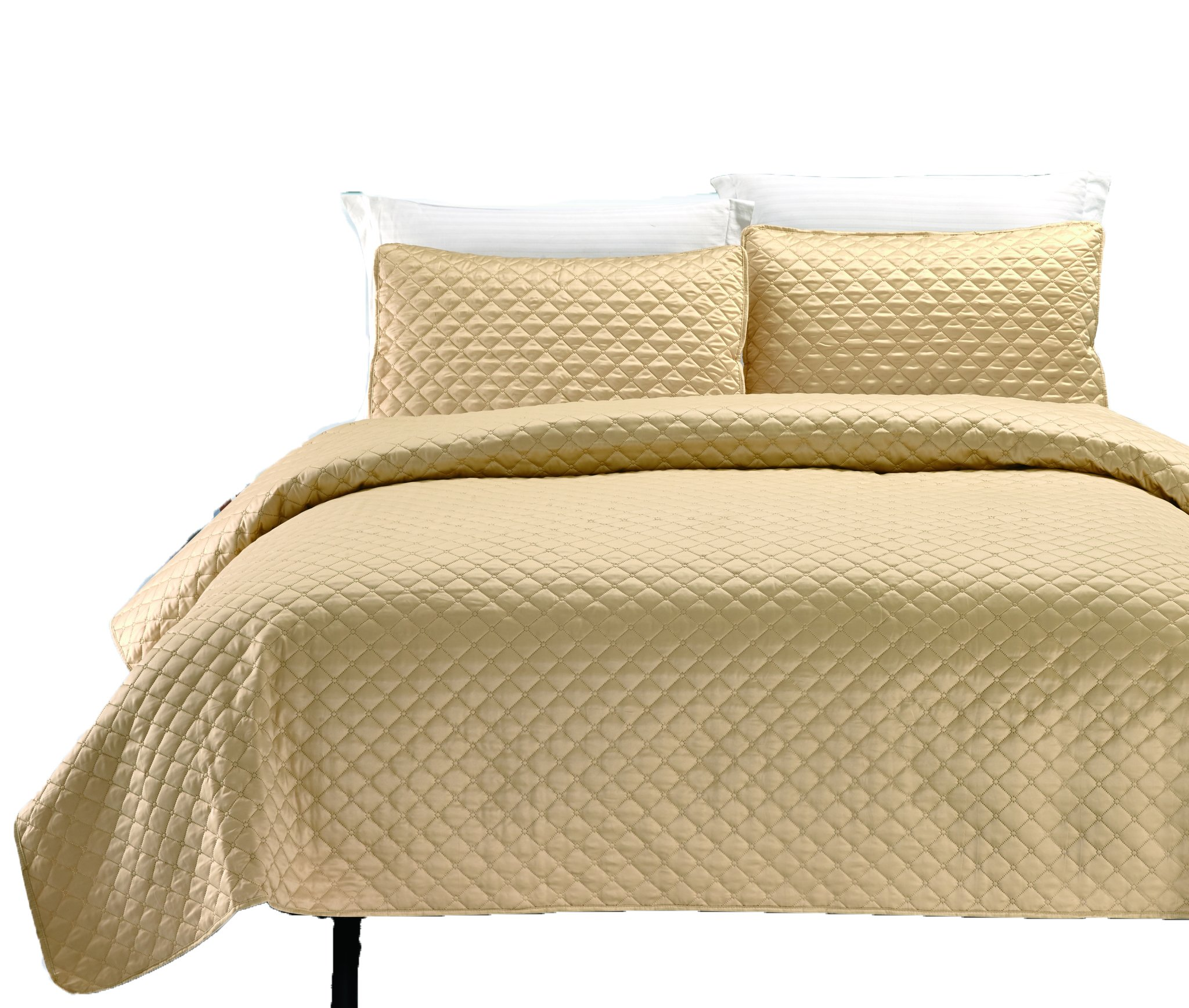 California Design Den Hotel-Style 3 Piece Quilt Set Luxury Lightweight Coverlet Sets Finely Stitched Bedspread and Shams with Soft Silky Feel Full/Queen Gold