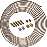 4LIFETIMELINES 25 ft 3/16 Copper-Nickel Alloy Brake Line Replacement Tubing Coil and Fitting Kit, 16 Fittings Included, Inver