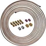 4LIFETIMELINES 25 ft 3/16 Copper-Nickel Alloy Brake Line Replacement Tubing Coil and Fitting Kit, 16 Fittings Included…