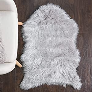 Sweet Home Collection Faux Fur Area Rug Sheepskin Decorative Chair Sofa Couch Throw 3' x 2' Foot Soft and Luxurious Cruelty Free Eco Friendly Shag Non Skid Premium Floor Cover, Silver