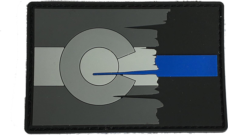 Subdued Tattered Colorado estado bandera fina línea azul PVC parche: Amazon.es: Jardín