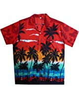 Original King Kameha | Funky Hawaiihemd | Herren | XS - 12XL | Kurzarm | Front-Tasche | Hawaii-Print | Strand Palmen Meer | Rot