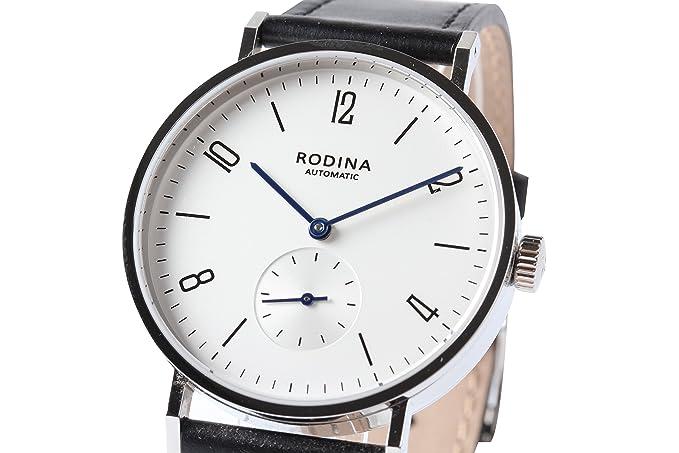 Auténtico rodina R005 automático reloj de pulsera, estilo Bauhaus árabe plata blanco Dial negro correa Gaviota ST17 movimiento: Amazon.es: Relojes