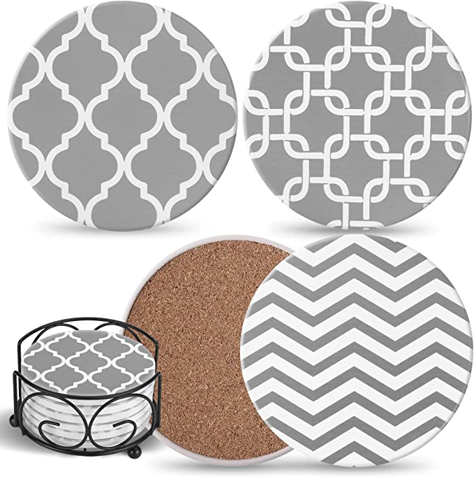 Coasters For Drinks Absorbent With Holder 6 Gray Ceramic Stones With Mix Patterns Cork Back Use As House Decor Living Room Or Coffee Bar Decor Outdoor Coasters Housewarming Kitchen Dining