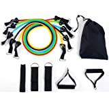 BalanceFrom Resistance Band Set - Include 5 Stackable Exercise Bands with Carrying Bag, Door Anchor Attachment, Legs…
