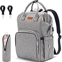 Diaper Bag Backpack with USB Charging Port, Large Capacity Neutral Multifunction Durable Water-Resistant Nappy Baby Bag…