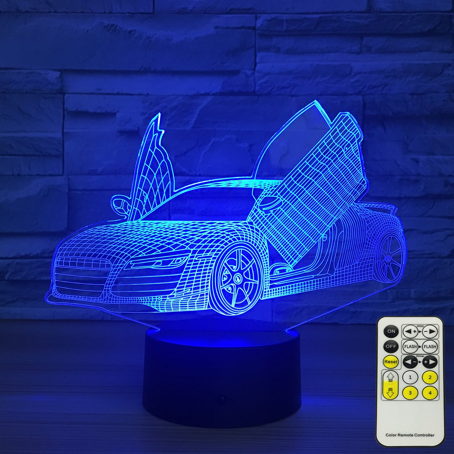 car 3d optical illusion lamps night lights for kids 7 colors change with touch remote control kids night light as a birthday gift ideas for boys sport