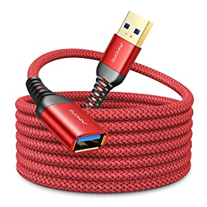 10FT USB 3.0 Extension Cable Type A Male to Female Extension Cord AINOPE Durable Braided Material High Data Transfer Compatible with USB Keyboard,Mouse,Flash Drive, Hard Drive,Printer-Red