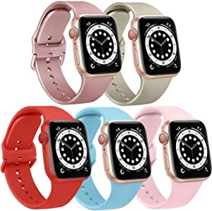 [5 Pack] Bands Compatible with Apple Watch Band 44mm 42mm Soft Silicone Sport Replacement Strap (42/44mm, Baby Blue/Rose Gold/Champagne Gold/Orange Red/Pink)